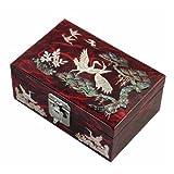 螺鈿細工 木製 松&鶴 ジュエリーボックス ミラー付き アクセサリー・指輪収納【レッド】