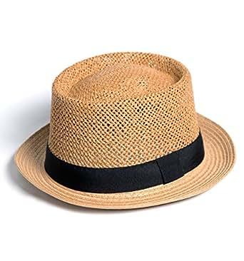 YUTTALIA(ユッタリア) 麦わら帽子 ポークパイハット メッシュ編み メンズ レディース 濃いブラウン