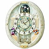 SEIKO CLOCK (セイコークロック) 掛け時計 ミッキーマウス 電波 アナログ からくり 12曲メロディ 回転飾り ミッキー&フレンズ Disney Time(ディズニータイム) 白マーブル模様 FW574W