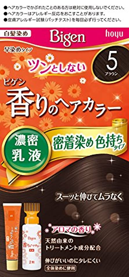 ヘアトーク付与ビゲン香りのヘアカラー乳液5 (ブラウン) 40g+60mL ホーユー