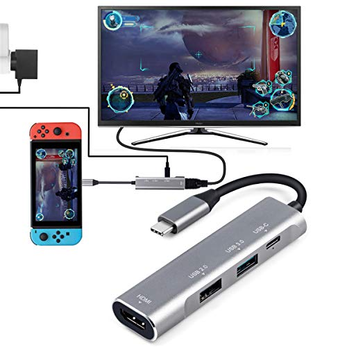USB Type C ハブ 4in1USB C 4K HDMI出力 PD充電対応 USB3.0 USB2.0 多機能アダプターサポートNintendo Switch(任天堂スイッチ)MacBook/MacBook Pro /2018 iPad Pro/Samsung Dex Mode/Huawei P20 Pro/Huawei mate20 もっと (4 in 1 type c ハブ)