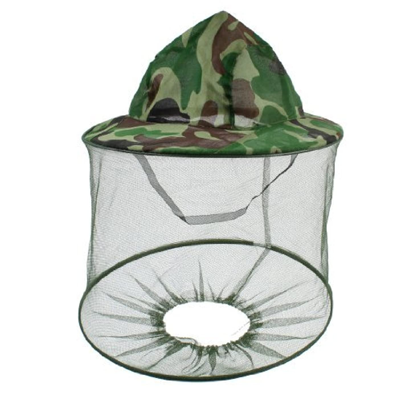取り付けアームストロング最少DealMux迷彩柄アンチモスキートバグビーフード付きの釣り帽子キャップグリーンダークブラウン