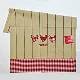 Sde サエラ 綿100% デザイン キッチン マット KITCHEN TOWEL STRIPES POULETTE 濃いベージュ 赤ストライプ フランス (50cm×70cm) 4014090