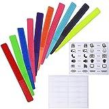 結束バンド・面ファスナー Wisdompro ケーブル ネームタグ ナイロン 粘着テープ 表示ラベル付き 配線コードまとめ・整理・識別 20枚組 カラー