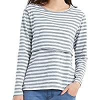 【Micopuella】 授乳口付き tシャツ 長袖 ボーダー 授乳服 トップス カットソー マタニティウェア (XL, グレー)