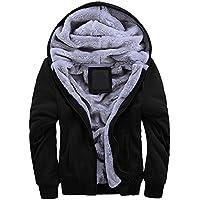 MANLUODANNI Men's Winter Hooded Jacket Zipper Fleece Lined Windbreaker Warm Tops Coat Outerwear