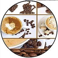 """ショートプラッシュ モダン ラウンドカーペットマット スイート&ソルトフォトマフィン カップケーキ コーヒー ビーンズ コラージュ アートワーク 写真 カラー ベッドルーム ベッドサイド キッチン ベッドルーム 15.7 x 15.7インチ ラウンド Diameter-31.5"""" YDT-QY-0830-06930D80xD80"""
