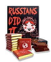 """面白いロシア人は食べ物 ☭ """"RUSSIANS DID IT"""" ☭ を食べましたか?いいジョークチョコレートセット! (マトリョーシカ)"""