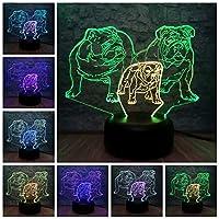 WZYMNYD 混合色3d ledランプ動物犬rgb照明テーブルナイトライトイリュージョン雰囲気寝室dceorルミナリアクリストーマスギフト