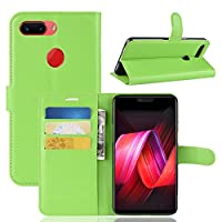 Oppo R15 Pro Case,[ Shock Absorbent ] スキン PU Leather Kickstand Wallet Cover Durable Flip Case for Oppo R15 Pro Green