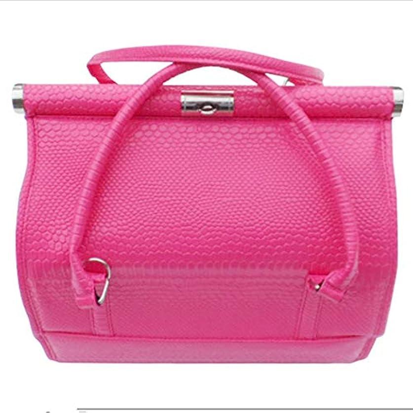 動員する作り上げる効果化粧オーガナイザーバッグ 女性の女性のための美容メイクアップのためのポータブル化粧品バッグ旅行と折り畳みトレイで毎日のストレージ 化粧品ケース