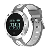 RUNACC スマートウォッチ 睡眠計 血圧計 スマートブレスレット 活動量計 着信知らせ 心拍計 座りがち注意 歩数計 カロリー 距離 アラーム 座りがち注意 健康統計 腕時計 IP67防水 Bluetooth4.0 Android IOS対応 (灰白い)
