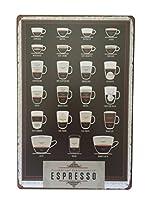 エスプレッソコーヒーメタルウォールプラーク錫歌う20 x 30 cm