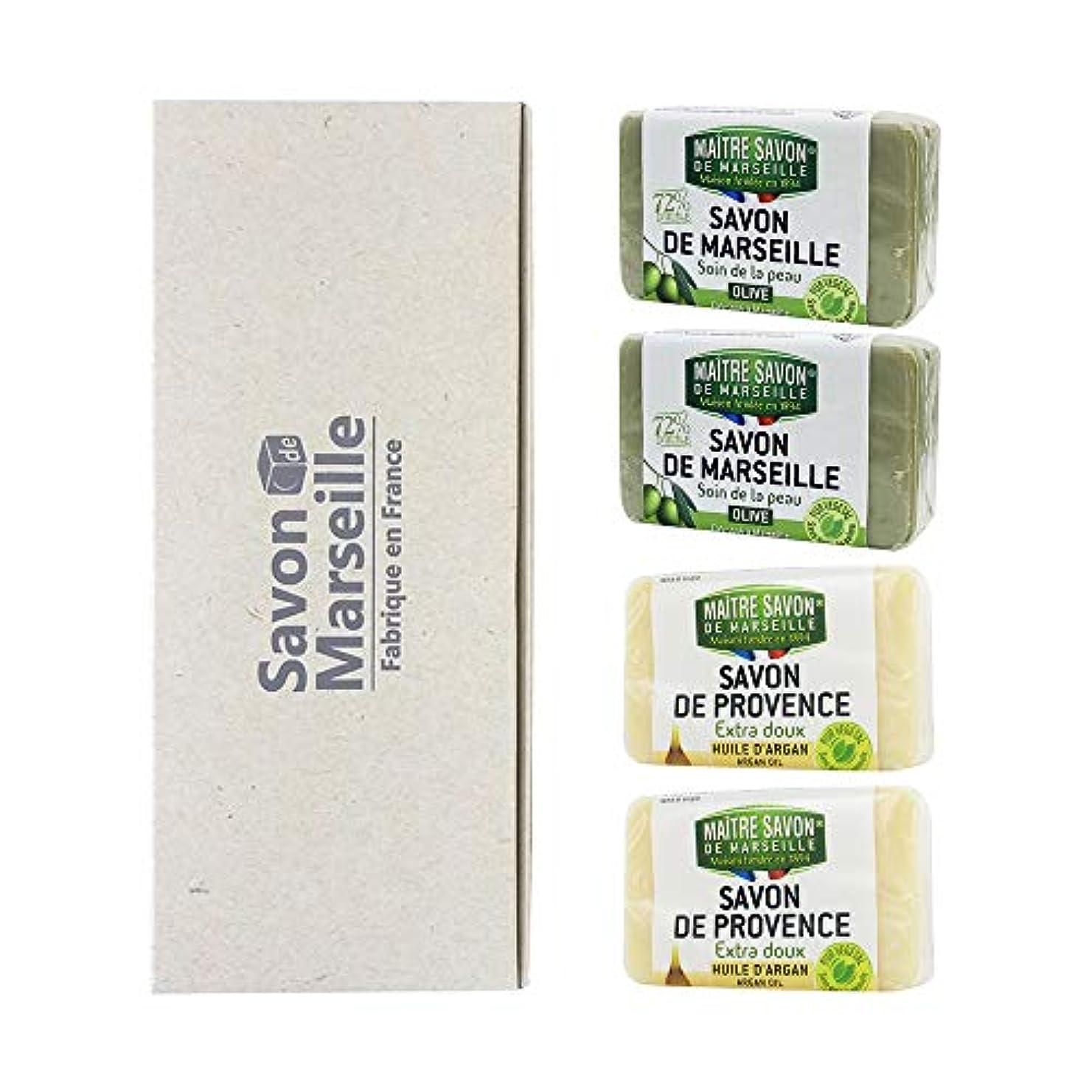 消毒剤ディスク社交的マルセイユソープ 4SOAPS BOX オリーブ&アルガン