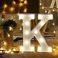 Gbell 8.7インチ DIY A to Z 文字LEDライト - ホワイト スタンディング 吊り下げ アルファベットライト リモコン付き - 愛 You-Oh、It's A monit、女の子/ベビーパーティ、結婚式、ショーウィンドウ、ホリデー、クリスマス新年の装飾 K ホワイト GBYXP7111503056568