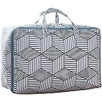 2PCSコットンリネン収納袋灰色の菱形幾何学的なストライプパターンポータブル折りたたみ防水キルトの羽毛布団衣類ストレージ移動仕上げ大型荷物梱包袋2個/セット (サイズ さいず : 60 * 45 * 28cm)