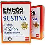 ENEOS (エネオス) SUSTINA (サスティナ) エンジンオイル 0W-20 SN/RC/GF-5 (100%化学合成油) 4L×2缶セット