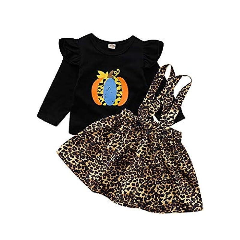 力リラックスしたいつ(ウェルドゥオ)(6M-4T)子供用長袖パンプキントップヒョウ柄スカートセット幼児子供女の赤ちゃんハロウィーンカボチャトップスヒョウ柄プリンセスドレス