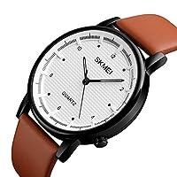 メンズカジュアルJapanese Movementシンプル大きなダイヤルアナログレザースポーツ防水Quartz Watches sk12102