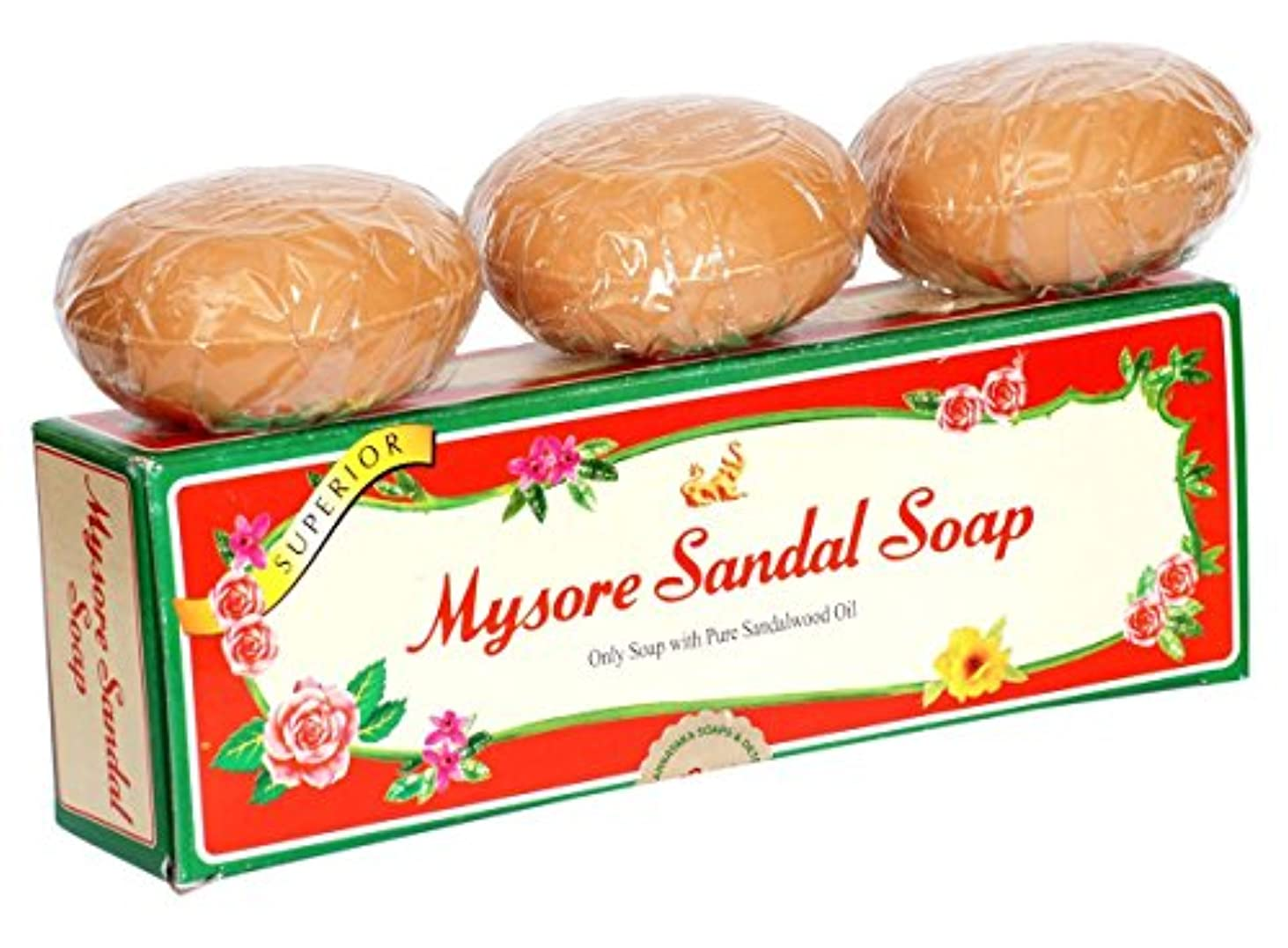 肉の更新チケットMysore Pure Natural Sandalwood Oil Ayurvedic Soap - 3 x 150g bars in 1 gift pack
