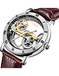 GuTe 腕時計 メンズ 自動巻き 究極のスケルトン 夜光 スチームパンク 革バンド 防水 ブラウン 格好良い 機械式