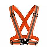 RICHELE Reflective Safety Vest 反射安全ベスト ランニング ジョキング 自転車 バイク用 反射チョッキ (オレンジ)