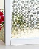 DUOFIRE 3D窓用フィルム 目隠しシート ガラスフィルム 断熱 遮光 結露防止 紫外線UVカット 水で貼る 貼り直し可能 装飾フィルム おしゃれ [モザイク014] (0.9M X 2M)