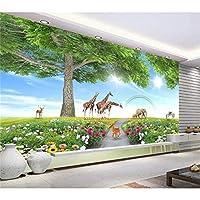 Ansyny カスタム3 D写真の壁紙子供部屋壁画大きな木動物の世界3 D画像写真ソファの背景壁紙用壁3 D-360X250CM