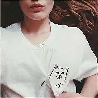 ファンキー すぎる ! ヤンチャ すぎる 猫 が ポケット に 潜む シュール な 仕 掛け T シャツ (03 ブラック L)