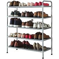 シェルフ_家庭用靴ラック、広げられた5層のシンプルな靴のキャビネット、ストレージラック棚の防塵、シルバーグレー(68 * 30 * 88センチメートル)