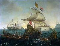 ¥5K-200k 手書き-キャンバスの油絵 - 美術大学の先生直筆 - 19 名画 - dutch ship running down スペイン gallyes WSP2 - 絵画 洋画 手描複製画 -03