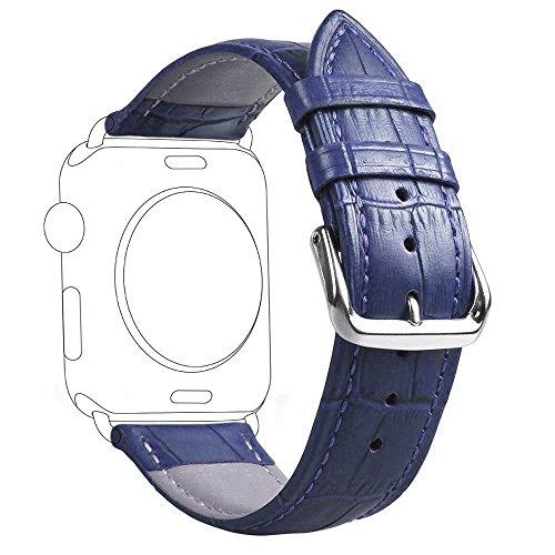 (ミーモール)Miimall Apple Watch Band 38mm 40mm レザー皮革 高 アップル ウオッチ バンド 本 革 ベルト 留め金アップル ウォッチ バンド (青い)