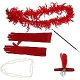 Prettyia フェザー ヘッドバンド ネックレス タバコホルダー 手袋 スカーフ コスプレ 装飾 写真撮影 全3色 - 赤