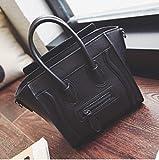 黒 ミックス ラゲージバッグ 鞄 ショルダー バイカラー フェイス 無地 (ブラック)