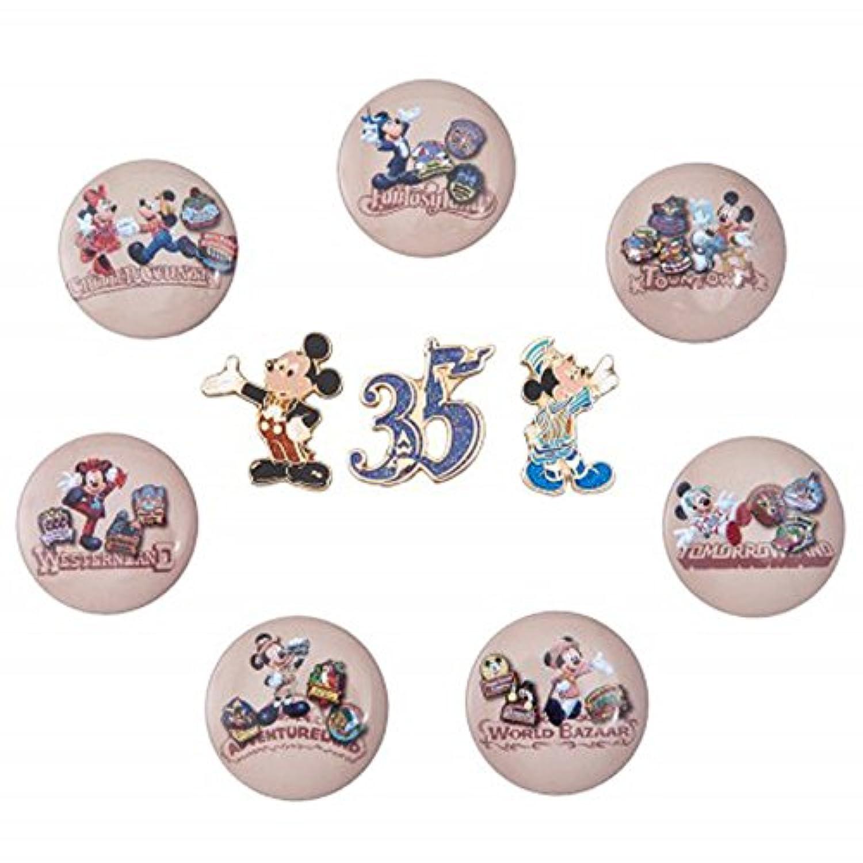 ディズニー リゾート 35周年 Happiest Celebration ! ヒストリー柄 缶バッジ & ピン セット ミッキー 他 ピンバッジ カンバッジ リゾート 限定