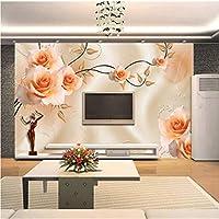 Lixiaoer カスタム写真の壁紙テレビの背景の壁の壁紙大壁絵画壁紙リビングルームの寝室3Dローズ壁紙壁画-200X140Cm