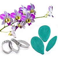 AK ART KITCHENWARE Gum Paste Orchid Petal Decoration Kit Leaf and Flower Tool Set Stainless Steel Cookie Cutter Set Silicone Veining Mould Petal Sugar Flower Making Tool A345 & VM006