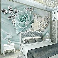 Weaeo 3D壁紙リビングルームベッドルーム壁画3Dミントグリーンジュエリー真珠油絵の花のテレビの背景-200X140Cm