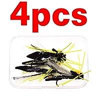 DENGHUI,Fishing, 4PCSブラックホッパードライフライ浮動泡がニジマスベースパーチフライフィッシングはルアーサイズ#4をハエハエ (色 : 白)