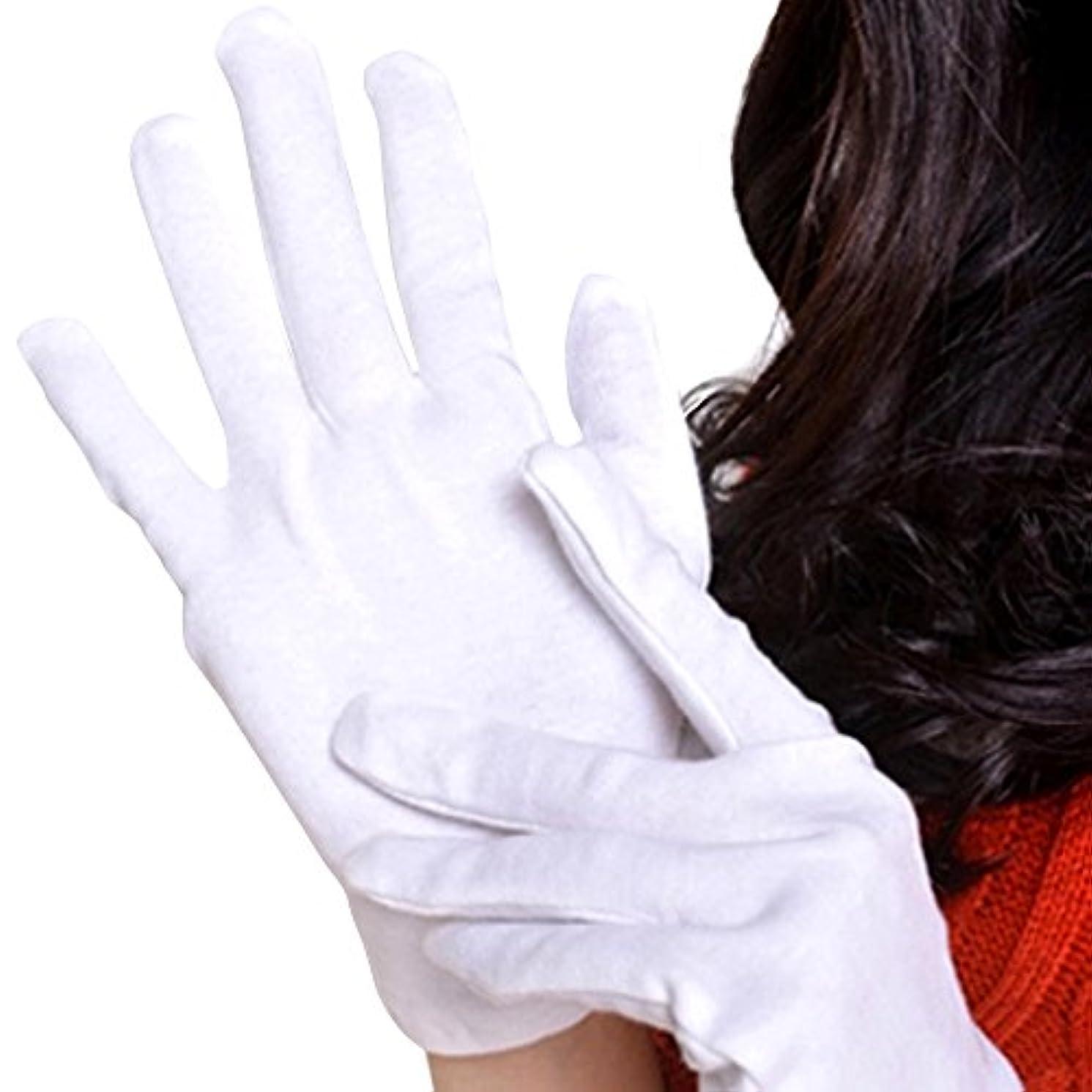 民主主義暗殺インフラ【Lucky Style】 おやすみ 手袋 綿 コットン 100% 12双組 L サイズ 白