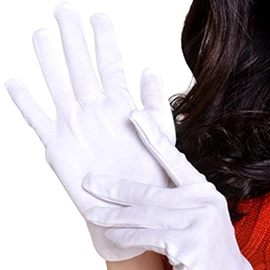 強い更新競合他社選手【Lucky Style】 おやすみ 手袋 綿 コットン 100% 12双組 L サイズ 白