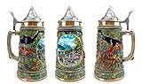 """""""夏のドイツ"""" Essenceヨーロッパのギフトe.h.g. Collectibleセラミックビールジョッキwithメタル蓋( # 1で4つのコレクションSteins )"""