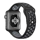 ナイキ スポーツ Apple Watch スポーツバンド, Gersymi® スポーツバンド 交換バンド 対応 アップルウォッチ Nike+ / New Apple iWatch Series 2 / Apple Watch Series 1 (42mm, ブラック+グレー)