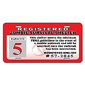 Registered ゾンビサバイバルシェルターのお知らせノベルティライセンスプレート