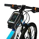 自転車 トップチューブバッグ,Qshiba 自転車サドルバッグ 6.0 インチ 自転車 フロントバッグ すまほスタンド スマホホルダー バッグ サイクリングフレームバッグ 自転車 バイク フレーム バック 収納可能 ナビ 防水 自転車 スタンド 5.5インチ サドルバッグフロントバッグ 自転車 すまほスタンド iPhone 7 6/6S/Plus Xperia 対応 携帯ホルダー バイク収納アクセサリー