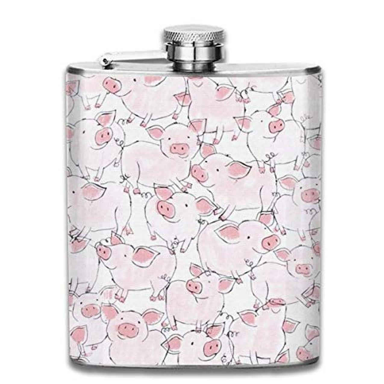 クラシカル紀元前登録するピンクの豚フラスコ スキットル ヒップフラスコ 7オンス 206ml 高品質ステンレス製 ウイスキー アルコール 清酒 携帯 ボトル