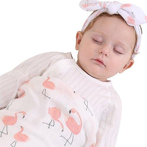 Sweet 赤ちゃん おくるみ 多用途 ガーゼタオル 新生児 多層ひざ掛け ブランケット寝袋 綿100% & カチューシャ ベビー用 コットン 出産祝い ヘアバンド 多彩柄 フルーツ 動物