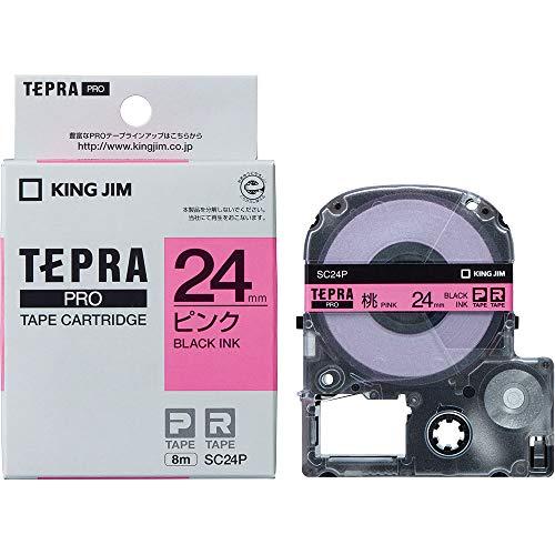 テプラ PROテープ 24mm カラーラベル パステル ピンクラベル 黒文字 1個 SC24P