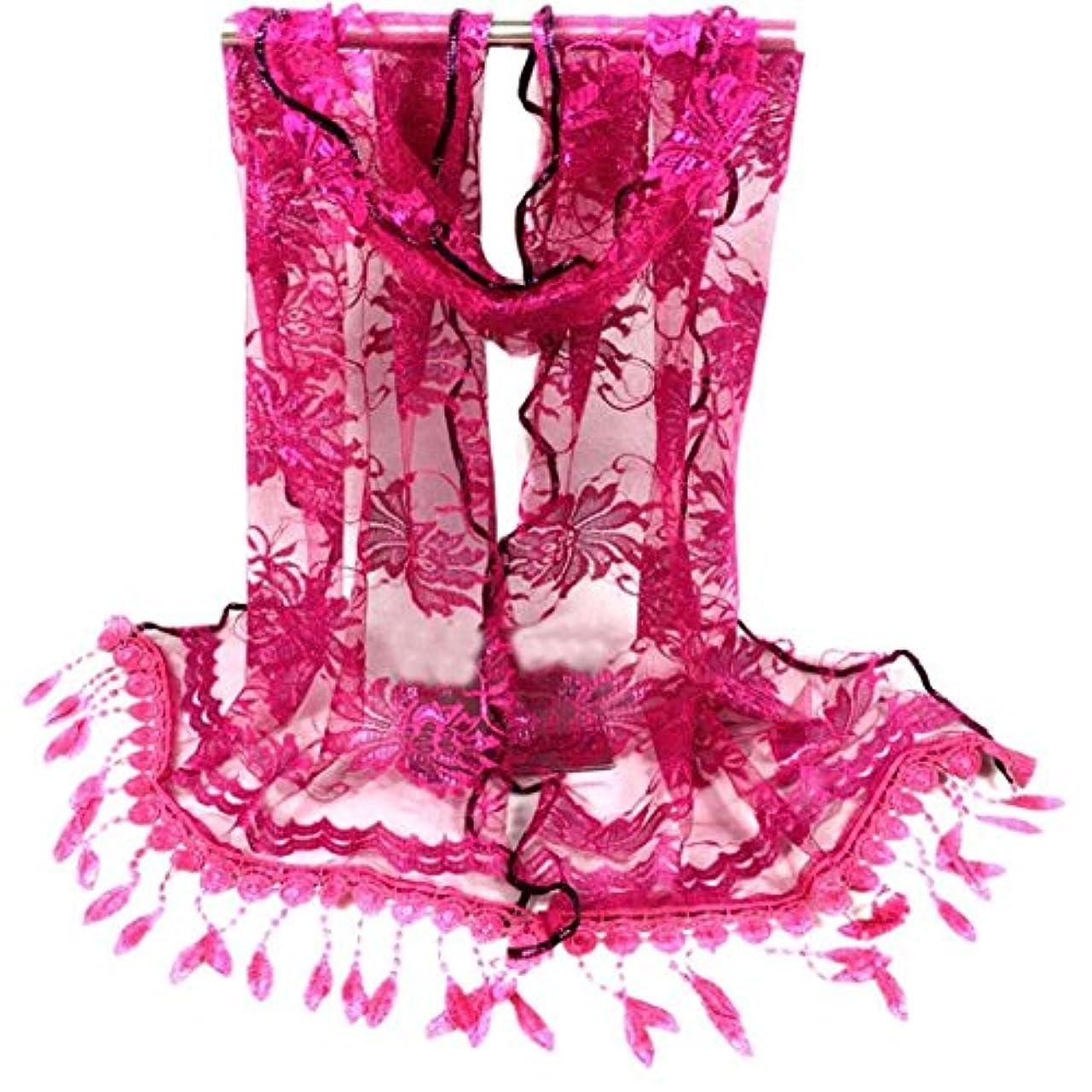 オーロックガラガラジャンピングジャック[SakuraBest] 女性ロングスカーフタッセルショールフラワーレーススカーフ