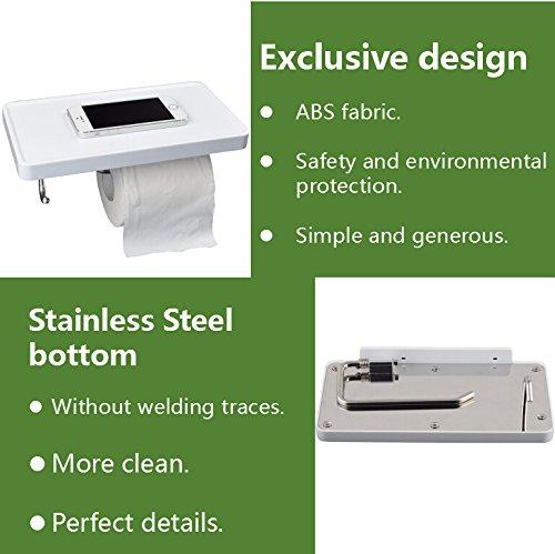 FindNew 多機能の簡潔な設計ABSプラスチック ステンレススチール製のお風呂場用トイレットペーパー置き 携帯電話、鍵、鉢を置ける棚 ホック付き(白)